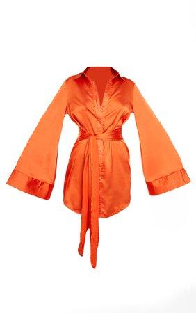 Orange Exaggerated Sleeve Tie Waist Shirt Dress   PrettyLittleThing USA