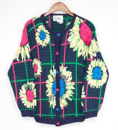 Lilly Pulitzer Cotton Cardigan Sweater L Blue Pink Yellow Green Flower Check | eBay
