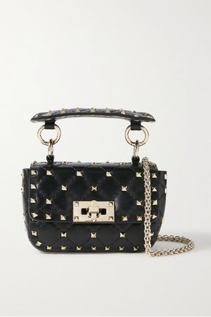 Black Valentino Garavani Rockstud Spike micro quilted leather shoulder bag | Valentino | NET-A-PORTER