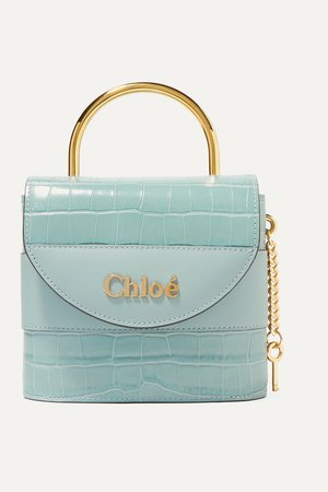 Blue Aby Lock small croc-effect leather shoulder bag | Chloé | NET-A-PORTER