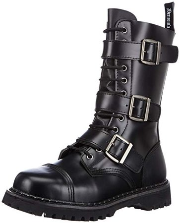 Amazon.com | Riot-12 Buckle Boot, Black Leather, 4 M US | Boots