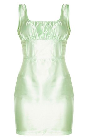 Green Satin Sleeveless Ruched Bust Bodycon Dress   PrettyLittleThing USA