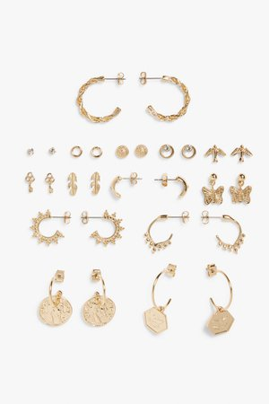 Assorted earrings - Gold metal - Earrings - Monki