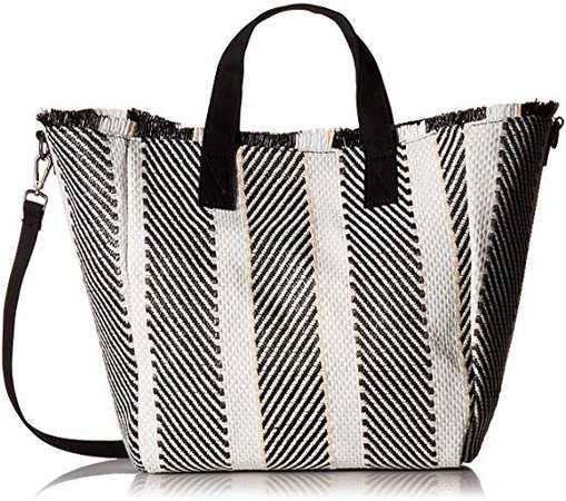 Amazon.com: Steve Madden Rumi Multi Colored Woven GEOMTRIC Pattern Beach Tote with Zipper Pouch, Black: Clothing