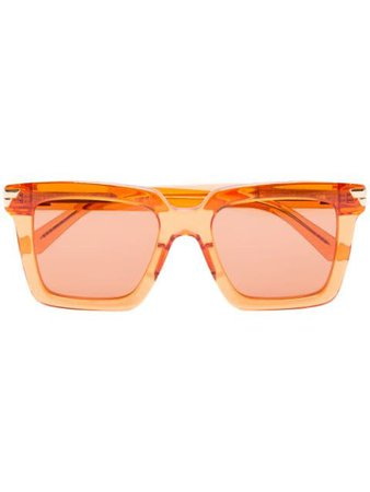 Bottega Veneta Eyewear Square Tinted Sunglasses BV1005S Orange | Farfetch