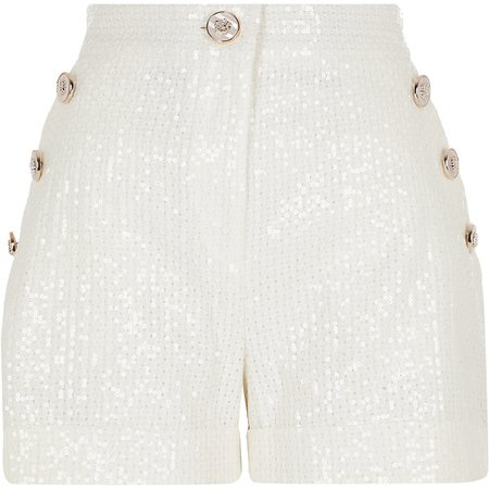White sequin button front shorts | River Island