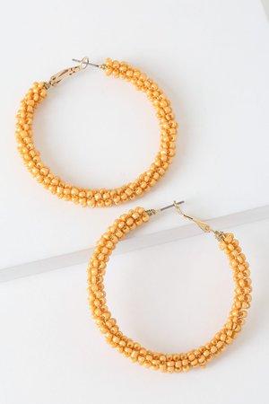 Chic Gold Earrings - Gold Beaded Earrings - Cute Hoop Earrings