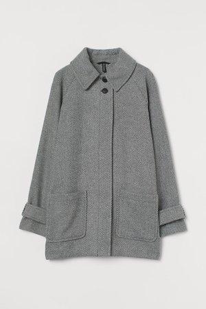 Boxy Twill Coat - Gray/white - Ladies | H&M CA