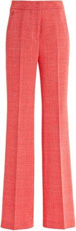 Akris Farida Check Wool-Blend Flared Pants