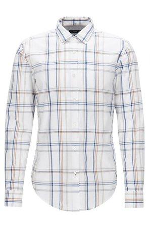 Buy Boss Plaid Cotton Button Down Shirt - Slim Fit | Ronni - Mens