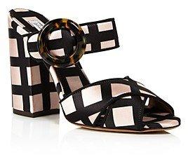 Women's Reyner Embellished Velvet High Block Heel Slide Sandals