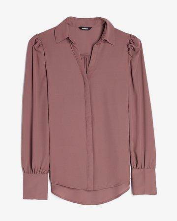 Hi-lo Button Side Puff Sleeve Shirt | Express