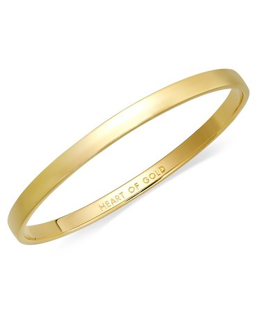 kate spade new york Bracelet, 12k Gold-Plated Heart of Gold Idiom Bangle Bracelet & Reviews - Bracelets - Jewelry & Watches - Macy's