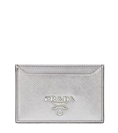 Metallic leather card holder