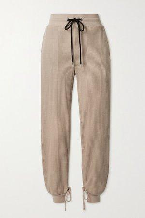 Stark Waffle-knit Cotton-blend Track Pants - Beige