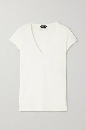Stretch-linen T-shirt - White