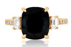 Black Diamond Gold Band Ring