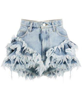 Natasha Zinko Frilled High-rise enim Shorts in Blue