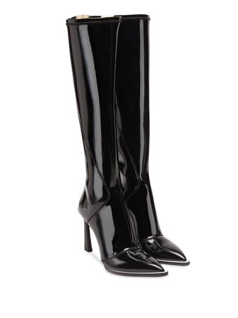 Fendi Patent Leather Pointed Toe Boots | Farfetch.com