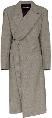 Check-Pattern Wrap-Around Coat