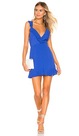 superdown Emily Ruffle Flare Dress in Blue | REVOLVE