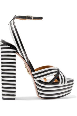 AQUAZZURA Sundance striped leather platform sandals