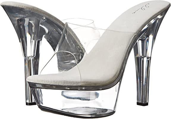 (Clear) Ellie Shoes Women's 601 Vanity Platform Sandal | Platforms & Wedges