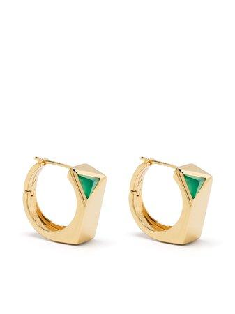 CAPSULE ELEVEN Jewel Beneath signet earrings gold C11ESG80WJEWELBENEATHSIGNETEARRINGPAIRGOLDGREENONYX - Farfetch