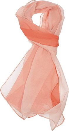 Hand By Hand Two-Tone Silk Blend Scarf Ombre Oblong Scarf Lightweight [11 Coral](One Size) at Amazon Women's Clothing store