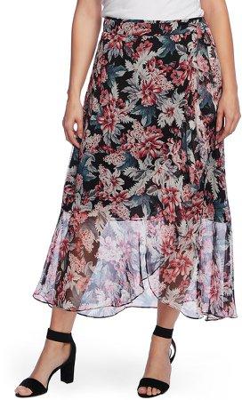 Romantic Lilies Wrap Chiffon Skirt