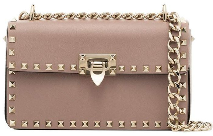 pink garavani rockstud leather shoulder bag
