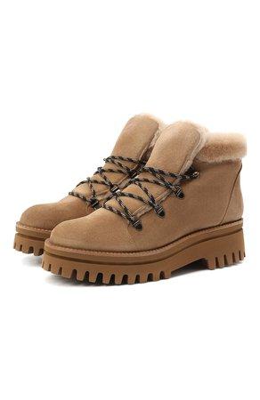 Женские бежевые замшевые ботинки PALOMA BARCELO — купить за 24600 руб. в интернет-магазине ЦУМ, арт. 058/1 DIEG0 SERRAJE/M0UT0N