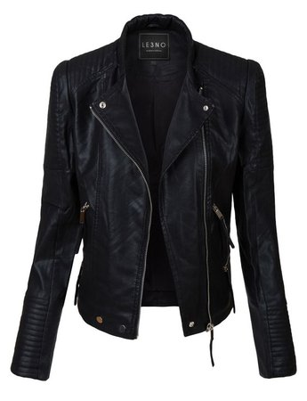 Womens Vintage Quilted Long Sleeve Faux Leather Moto Biker Jacket