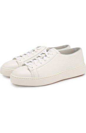 Женские белые кожаные кеды  SANTONI