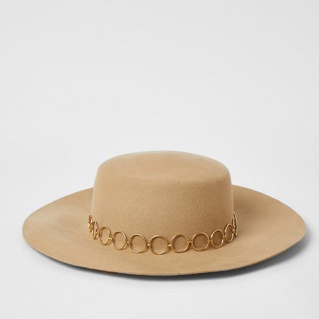 Beige circle chain Fedora hat | River Island