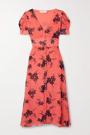 Floral-print Crepe Midi Dress - Orange
