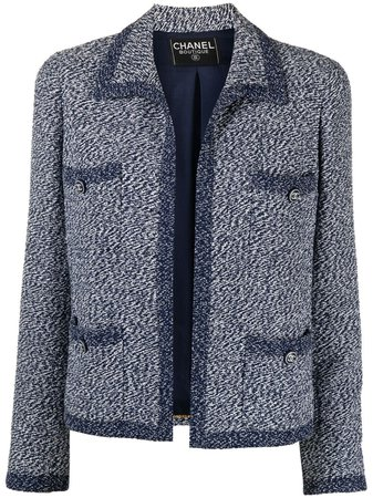 Chanel Pre-Owned 1990s no-fastening Woven Jacket - Farfetch