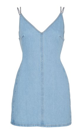 Crystal Strap Denim Mini Dress by David Koma | Moda Operandi