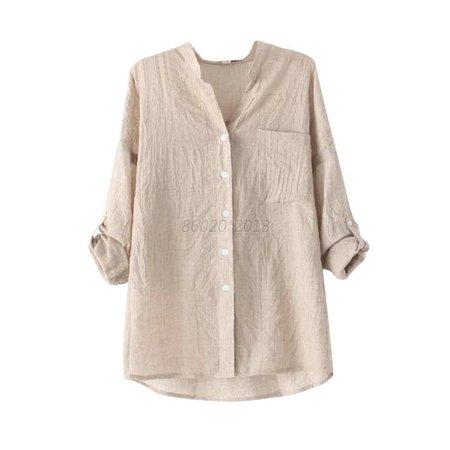 Womens Ladies Blouse Long Sleeve Tops Sheer Cotton Linen Button Down Shirt S-XL   eBay