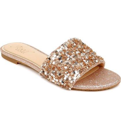 Jewel Badgley Mischka Noland Embellished Slide Sandal (Women) | Nordstrom