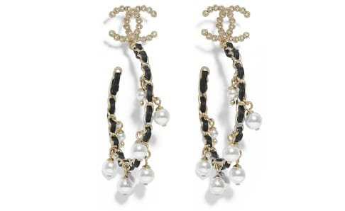 Earrings, metal, glass pearls, strass & calfskin, gold, pearly white, crystal & black - CHANEL
