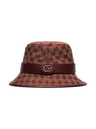 Shop red & brown Gucci GG canvas fedora with Express Delivery - Farfetch