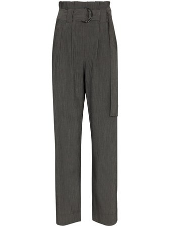 Shop GANNI belted straight-leg trousers with Express Delivery - Farfetch
