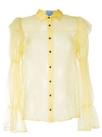 Shop yellow Macgraw Souffle sheer blouse with Express Delivery - Farfetch