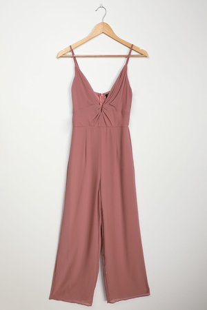 Chic Mauve Jumpsuit - Sexy Plunging Jumpsuit - Wide-Leg Jumpsuit