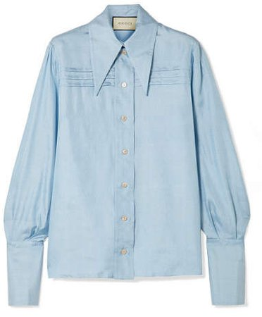 Pintucked Silk-georgette Shirt - Blue