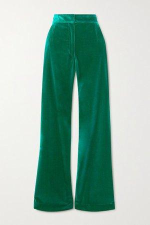 Cotton-velvet Flared Pants - Green
