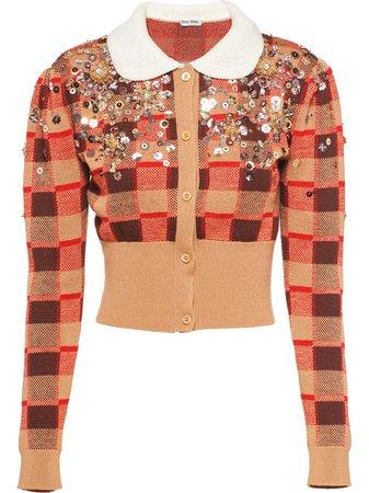 Red Miu Miu embellished wool cardigan - Farfetch
