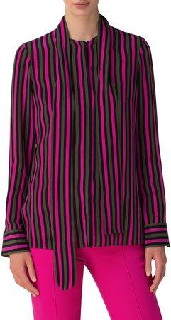 Stripe Tie Neck Silk Blouse