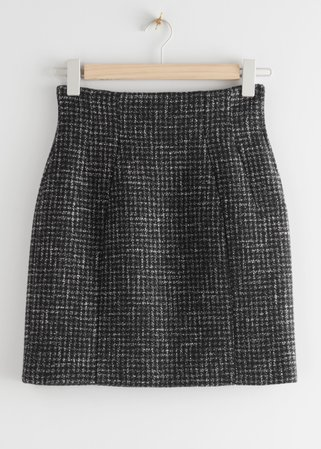 Wool Blend Mini Skirt - Black Checks - Mini skirts - & Other Stories